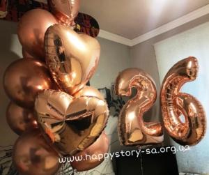Гелиевые шары (розовое золото) на день рождения