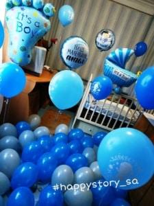 Оформление комнаты гелиевыми шарами на выписку для мальчика