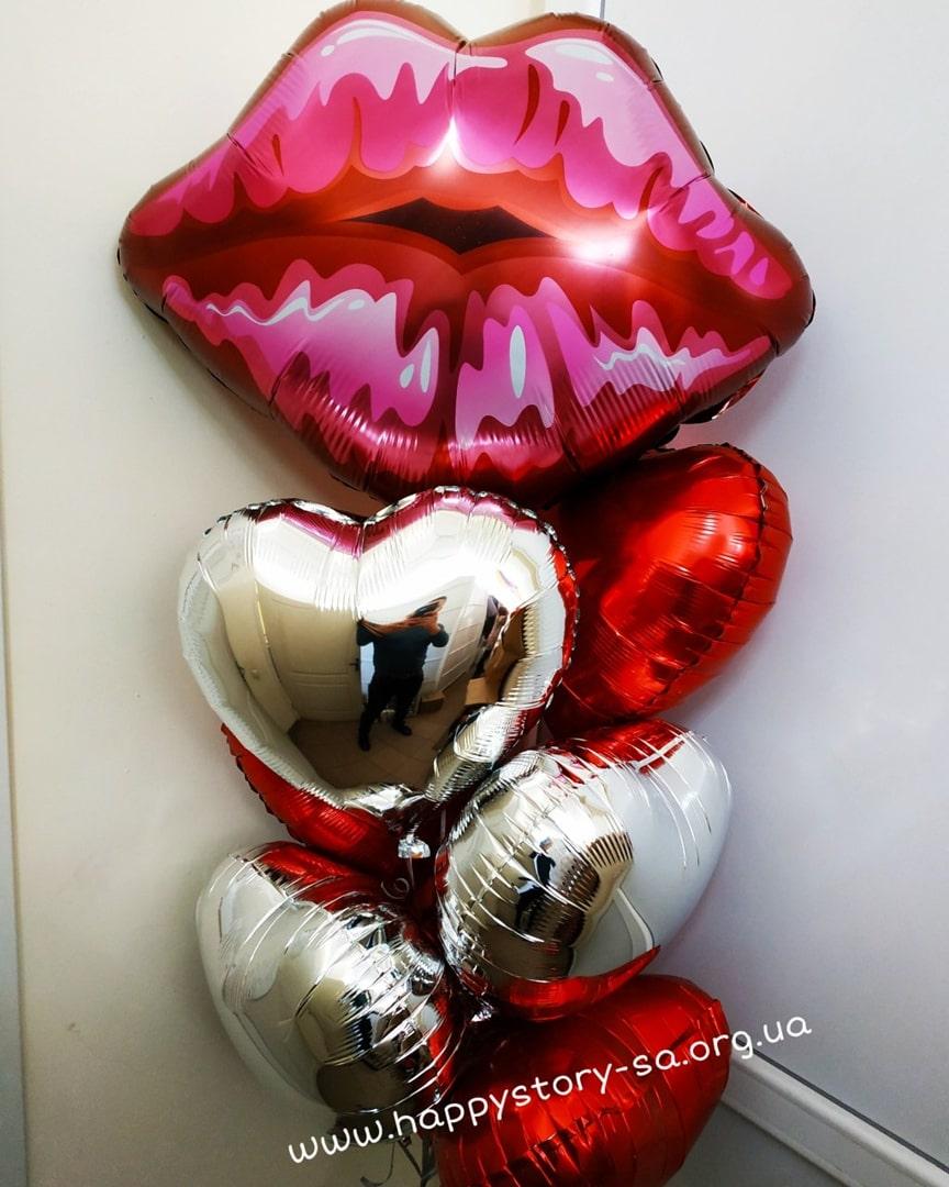 Микс из фольгированных шаров на день влюбленных