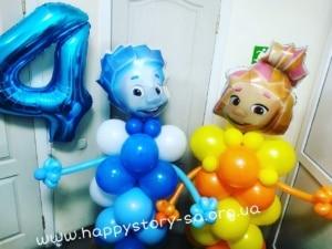 Фиксики из воздушных шаров на детский праздник