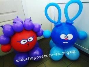 Фигурки смешариков из воздушных шаров